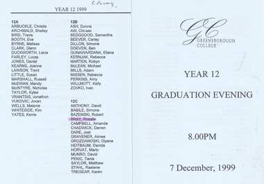 Program - Digital Image, Rosie Bray et al, Greensborough College Graduation Ceremony 1999. Gr8750, 07/12/1999