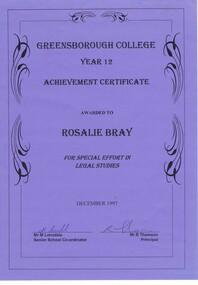 Program - Digital Image, Rosie Bray et al, Greensborough College: Certificate of Achievement 1997 Rosalie Bray. Gr8750, 1997_12