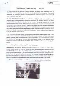 Article - Memoir, Rosie Bray, The Moomba Parade and me, by Rosie Bray, 2020