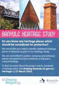 Flyer, Banyule Heritage Study, 2020
