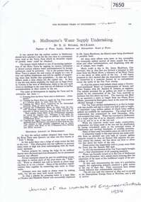 Article - Article, Journal, E. G. Ritchie, Melbourne's water supply undertaking, by E. G. Ritchie, 1934
