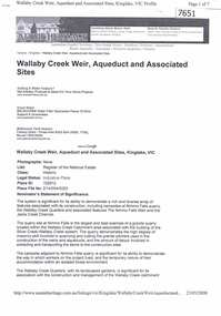 Article - Article - Website, Wallaby Creek Weir, Aqueduct and associated sites, Kinglake, 2007