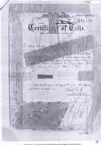 Document - Certificate of Title, Flintoff land, 1897o