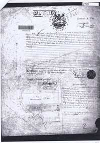 Document - Certificate of Title, Mayger land, 1863o