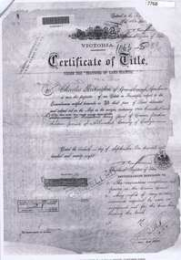 Document - Certificate of Title, Partington land, 1878o
