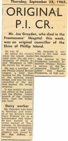 Newspaper Clipping, Mr Joe Grayden, 23/9/1965