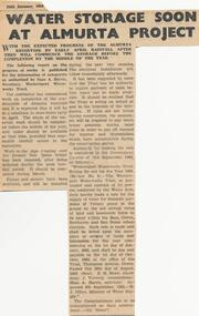 Newspaper Clipping, Almurta Reservoir, 25/1/1964