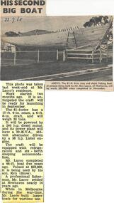 Newspaper Clipping, New Boat, 22/7/1968