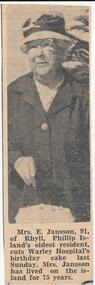 Newspaper Clipping, Mrs E Jansson