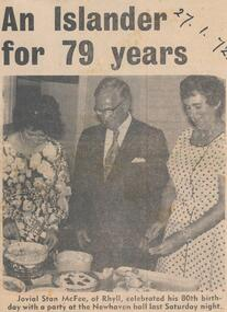 Newspaper Clipping, Stan McFee's 80th, 27/1/1972