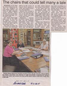 Newspaper Clipping, San Remo & Phillip Island Advertiser, Museum Chairs restored, 18/2/2015