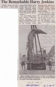 Newspaper Clipping, San Remo & Phillip Island Advertiser, The Remarkable Harry Jenkins, 4/3/2015
