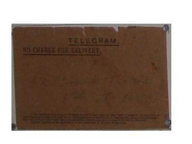 Telegram, Telegram to Lt. Frank William Tickle from Buckingham Palace, 14/03/1919 (exact)