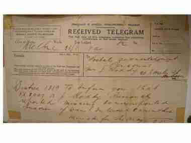 Telegram, Telegram from Minister for the Army to Mrs. Roddy, 5:MMMM, 1941 (estimated)