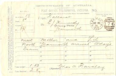 Telegram, Post Office Telegraphs, Victoria, 10/5/1906 (exact)
