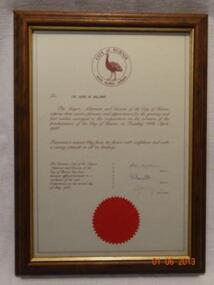 Framed letter, Letter from City of Burnie Tasmania to Shire of Ballarat, Circa 1988