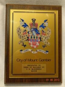 Plaque, City of Mount Gambier, Unknown