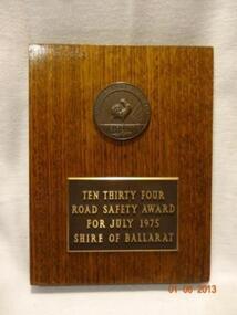 Plaque, Road Safety Award 1975, Circa 1975