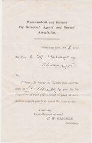 Licence, Pig Breeders Licence, 1903