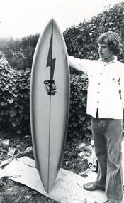 Photograph, Unknown, Jack McCoy and Lightning Bolt Surfboard, circa 1975