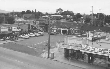 Photograph, Town Hall rooftop view of Railway station entrance, Ringwood, Vic. - c.1964