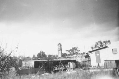 Photograph, Ringwood Clock tower from outside Presbyterian Church, Adelaide Street - 1957