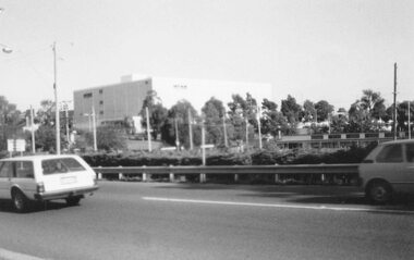 Photograph, New extra storey on Myer at Eastland, viewed from the library in Warrandyte Road, Ringwood - 1984