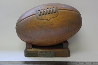 Wooden Football on stand, Norwood High School, Ringwood, Inter School House Trophy 1969, 1969