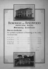 Certificate, Ringwood Swimming Pool/Municipal Baths notice - c.1950s