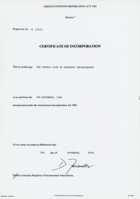 Document, F.D. Atkinson Government Printer Melbourne, Ringwood Probus Club Certificate of Incorporation, 1986, 5th November 1986