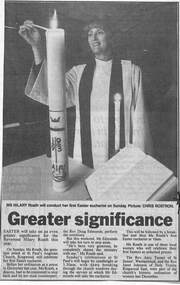 Newspaper clippings, Reverend Hilary Roath, St. Paul's Anglican Church, Ringwood - 1993, 1993