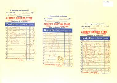 Document, Invoices from Alfred's Junction Store -91 Warrandyte Road Ringwood. 1953 to Mrs Pullen