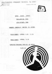 Document - Handout, Southwood Primary School Inter School Sports Program, 15th Oct, 1986