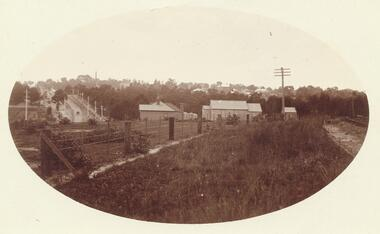 Postcard, View of Ringwood looking East from Warrandyte Road /Whitehorse Road intersection. Circa 1916