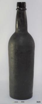 Black glass, cylindrical, bulbous neck