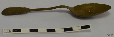 Spoon has discolorations, hole in bowl, nicks in rim, upwards bow in shoulder