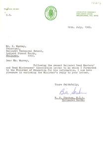 Document, Correspondence relating to teacher training and Ballarat Schools, 1969