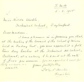Correspondence, Rough Correspondence to Hilda Wardle from Ballarat School of Mines, 1915, 02/08/1915