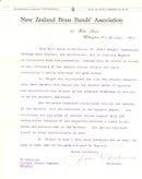 Frank Wright Reference from John G. Osborne of the New Zealand Brass Bands' Association, 1933