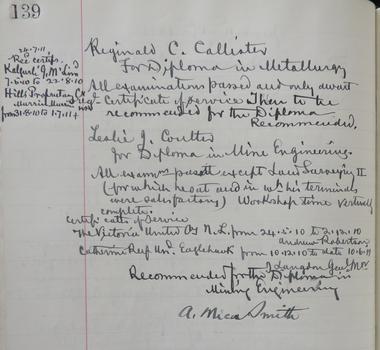 Handwritten page in Ballarat School of Mines Examiners Minute Book