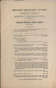 Document, Education Department Victoria Technical Schools Annual Examinations, 1915