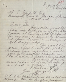 Correspondence, Letter from J.B. Coombs to the Ballarat School of Mines, 1898, 12/05/1998