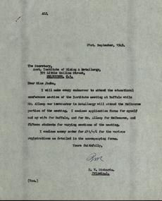 Correspondence, Miss B.E. Jacka, Secretary of the Australasian Institute of Mining and Metallurgy et al, Australasian Institute of Mining and Metallurgy correspondence with the Ballarat School of Mines, 1949