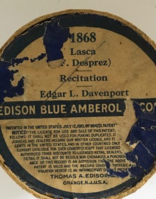 Musical Object, Edison Amberol Cylinder Records, 1900s