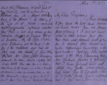 Document - correspondence, Letter to Professor of Zoology from Silas Jouls, 01/04/1913
