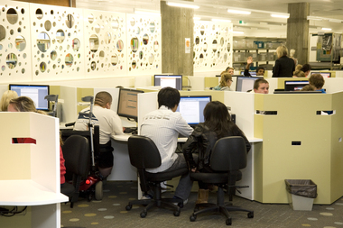 Students at work in the E.J. Barker Library