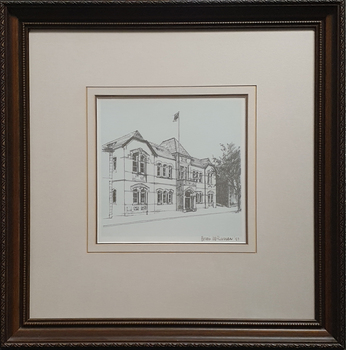 A framed drawing of a double storey building
