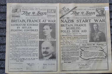 Newspaper - The Sun - 2nd September 1939 - Nazis Start War, Britian, France Mobilise: Poles See Aid - Start of world War 2