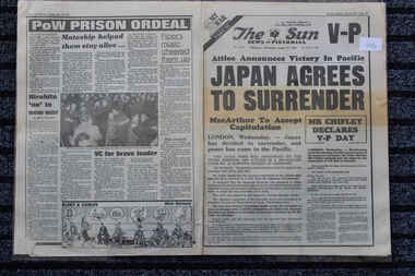 Newspaper - The Sun Newspaper dated 15/8/1945, Japan Agrees to Surrender - The Sun Newspaper dated 15/8/1945