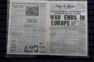 Newspaper - The Sun Newspaper dated 5/5/1945, War Ends in Europe